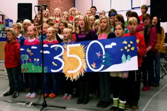 Children in a Finnish school choir perform a song called