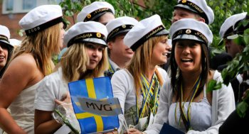 swedish students with traditional graduation hats celebrating their graduation day